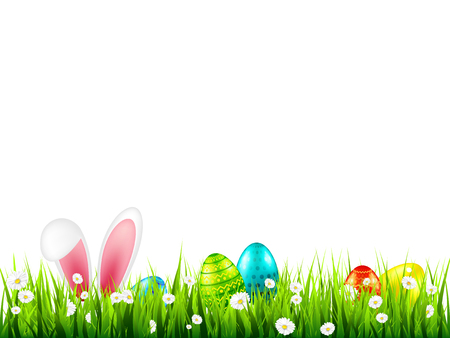 Easter eggs on grass with bunny rabbit ears set. Spring holidays in April. Sunday seasonal celebration with egg hunt Stock Vector - 117086537