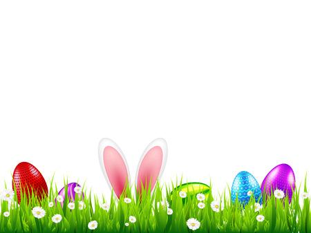 Uova di Pasqua sull'erba con set di orecchie di coniglio coniglietto. Vacanze primaverili ad aprile. Festa stagionale della domenica con caccia alle uova Vettoriali