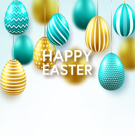 Easter golden egg with calligraphic lettering, greetings. Confetti and ribbon.Traditional spring holidays in April or March. Sunday. Eggs and gold. Standard-Bild - 118113825