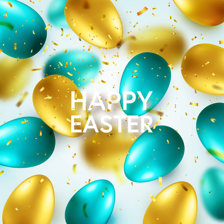 Easter golden egg with calligraphic lettering, greetings. Confetti and ribbon.Traditional spring holidays in April or March. Sunday. Eggs and gold. Zdjęcie Seryjne - 118113828