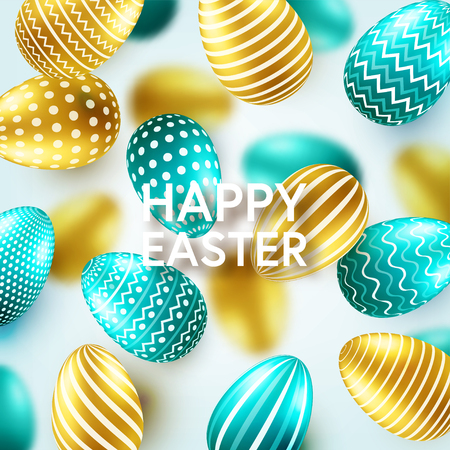 Easter golden egg with calligraphic lettering, greetings. Confetti and ribbon.Traditional spring holidays in April or March. Sunday. Eggs and gold. Standard-Bild - 118113830