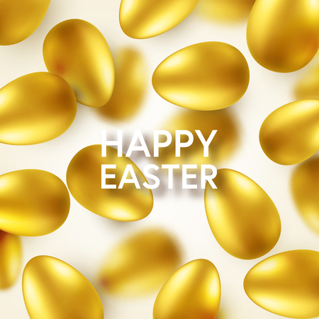 Easter golden egg with confetti and calligraphic lettering, greetings. Traditional spring holidays in April or March. Sunday. Eggs and gold. Standard-Bild - 118113832