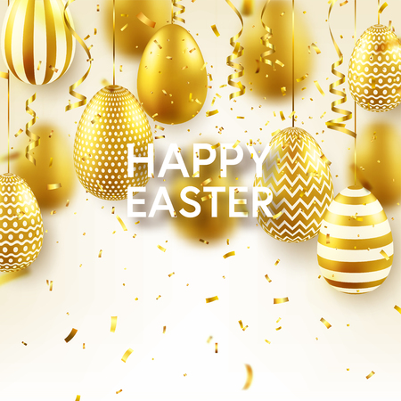 Easter golden egg with confetti and calligraphic lettering, greetings. Traditional spring holidays in April or March. Sunday. Eggs and gold. Zdjęcie Seryjne - 118113833