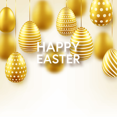 Easter golden egg with confetti and calligraphic lettering, greetings. Traditional spring holidays in April or March. Sunday. Eggs and gold.