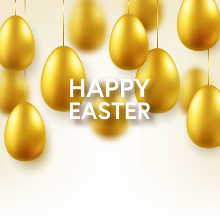 Easter golden egg with confetti and calligraphic lettering, greetings. Traditional spring holidays in April or March. Sunday. Eggs and gold. Standard-Bild - 118113835