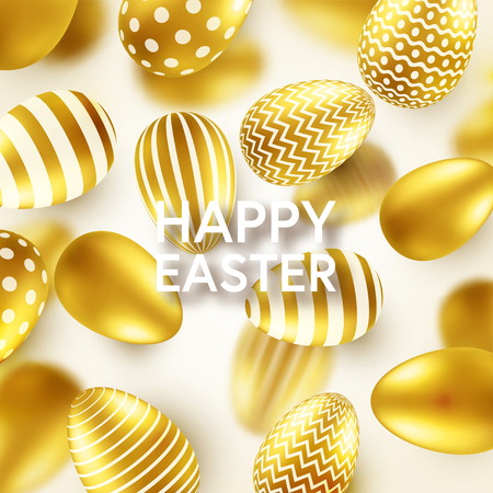 Easter golden egg with calligraphic lettering, greetings. Traditional spring holidays in April or March. Sunday. Eggs and gold