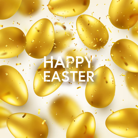 Easter golden egg with confetti and calligraphic lettering, greetings. Traditional spring holidays in April or March. Sunday. Eggs and gold. Zdjęcie Seryjne - 118113838