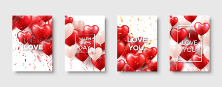 Valentines Mothers day modern abstract card template poster or banner with red heart balloons. Romantic wedding love background. Vector set Illustration