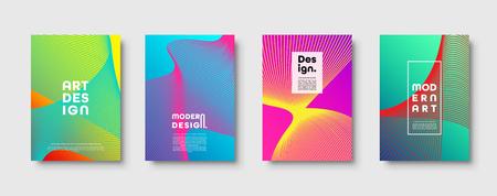 Moderner minimaler bunter abstrakter Vektorhintergrund, Linien und geometrisches Formendesign. Neon UFO Grün, Proton Lila, Kunststoff Rosa Halbton Farbverlauf