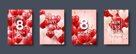 Womens day background with red balloons, heart shape.Confetti and ribbon. Love symbol. March 8. I love you. Vector illustration