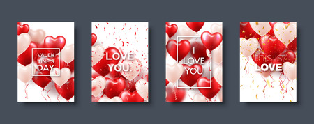 Valentines day abstract card template, banner with red heart balloons. Romantic wedding love background. Vector set