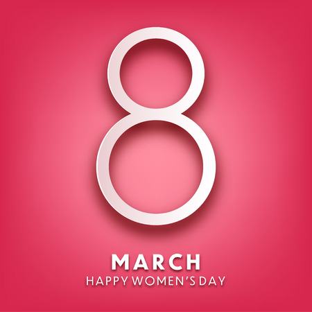 Women's day background with text. March 8 international holiday. Paper greeting card with number and date. Vector illustration Standard-Bild - 118113920
