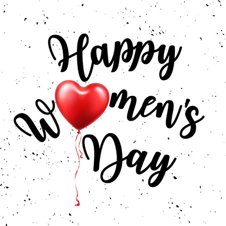 Women's day poster with text. Greeting card with typography design and red balloon. Lettering banner. 8 march holiday. Vector illustration Archivio Fotografico - 125131263