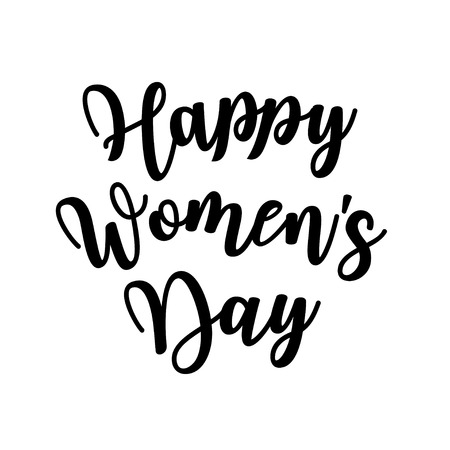 Womens day poster with text. Greeting card with typography design. Lettering banner. 8 march holiday. Vector illustration