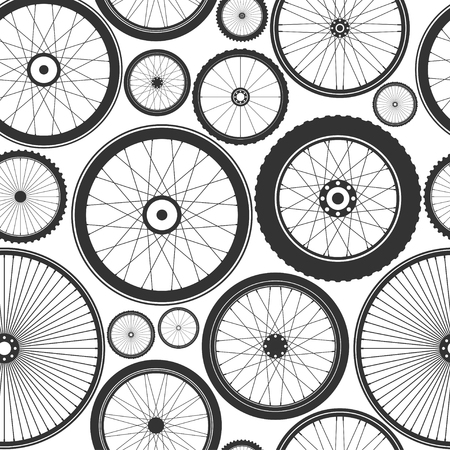 Bicycle wheel seamless pattern. Bike rubber mountain tyre, valve. Fitness cycle, mtb, mountainbike. Vector illustration