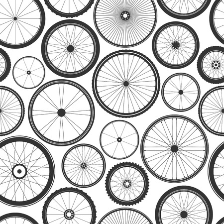 Bicycle wheel seamless pattern. Bike rubber mountain tyre, valve. Fitness cycle, mtb, mountainbike. Vector illustration Vetores