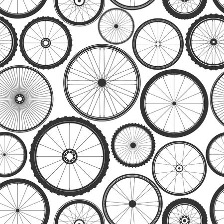 Nahtloses Muster des Fahrradrades. Fahrradgummi Bergreifen, Ventil. Fitnessrad, MTB, Mountainbike. Vektor-Illustration