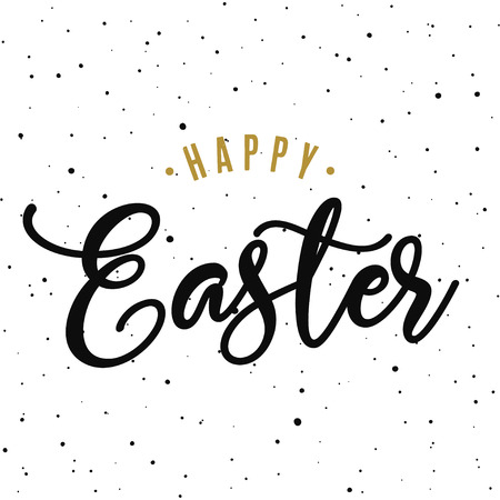 Happy easter hand drawn calligraphy design. Greeting card with golden text. Handwritten sketch lettering. Grunge background. Vector illustration. Illustration