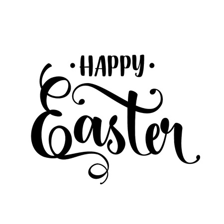 Happy easter hand drawn calligraphy design. Greeting card with text. Handwritten sketch lettering. Vector illustration.