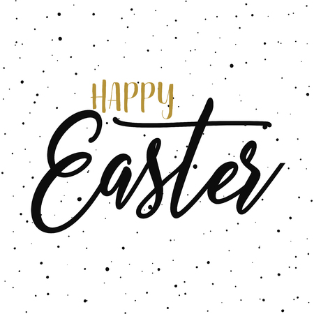 Happy easter hand drawn calligraphy design. Greeting card with golden text. Handwritten sketch lettering. Grunge background. Vector illustration