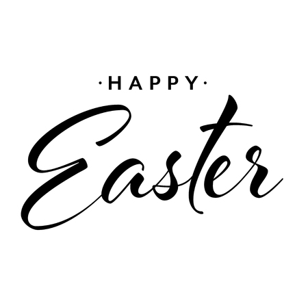 Happy easter hand drawn calligraphy design. Greeting card with text. Handwritten sketch lettering. Vector illustration Illustration