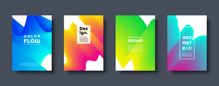 Abstrakter modischer geometrischer Hintergrund mit flüssiger Steigung. Bunte blaue, rote, gelbe und grüne dynamische Kurvenwelle. Modernes Motion-Banner-Set. Vektor-Illustration