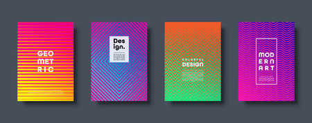 Modern abstract background with geometric shapes and lines. Colorful trendy minimal A4 template cover with acid colors and halftone gradient. vector illustration.