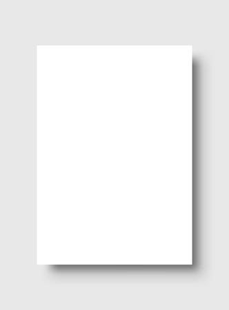 Empty white poster. Paper blank template. Vector illustration