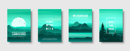 Mountains and forest. Wild nature landscape. Travel and adventure.Panorama. Into the woods. Horizon line.Trees,fog. Vector illustration