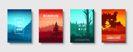 Mountains and forest. Wild nature landscape. Travel and adventure.Panorama. Into the woods. Horizon line.Trees,fog. Vector illustration.