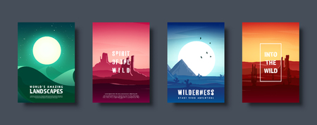 Desert trip. Extreme tourism and travelling. Back to nature. Sands. Exploring Africa. Horizont line with sky. Mountaines. Vector illustration