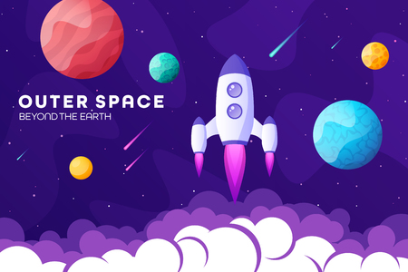 Space futuristic modern, colorful background with rocket, planets and stars. Starship, spaceship in night sky. Solar system, galaxy and universe exploration. Vector illustration  イラスト・ベクター素材
