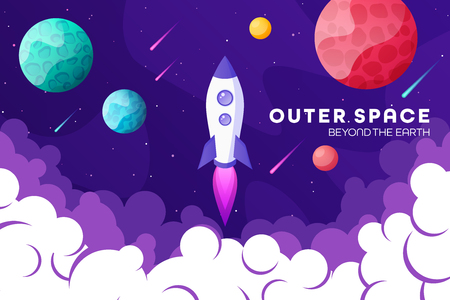Space futuristic modern, colorful background with rocket, planets and stars. Starship, spaceship in night sky. Solar system, galaxy and universe exploration. Vector illustration 写真素材 - 119912781