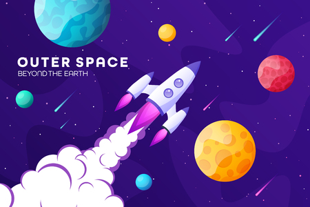 Space futuristic modern, colorful background with rocket, planets and stars. Starship, spaceship in night sky. Solar system, galaxy and universe exploration. Vector illustration 写真素材 - 119912782