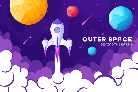 Space futuristic modern, colorful background with rocket, planets and stars. Starship, spaceship in night sky. Solar system, galaxy and universe exploration. Vector illustration Ilustração