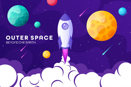 Space futuristic modern, colorful background with rocket, planets and stars. Starship, spaceship in night sky. Solar system, galaxy and universe exploration. Vector illustration Illustration