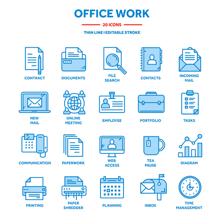 Business and office work. Documents, paperwork. Businessman. Thin line blue web icon set. Outline icons collection. Vector illustration.