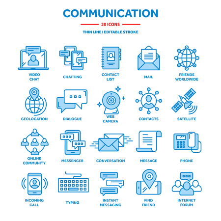 Communication,social media and online chatting. Phone call,app messenger. Mobile,smartphone. Computing, email. Thin line web icon set,outline icons collection