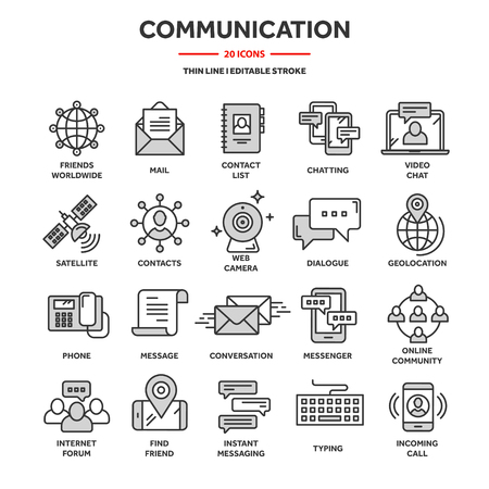 Communication,social media and online chatting. Phone call,app messenger. Mobile,smartphone. Computing, email. Thin line web icon set,outline icons collection Ilustração Vetorial