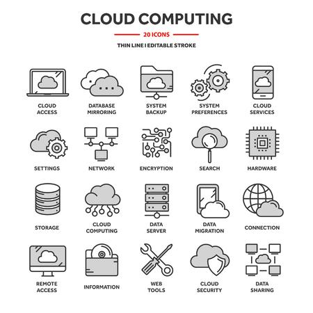 Computación en la nube. Tecnología de Internet. Servicios en línea. Datos, seguridad de la información. Conexión. Conjunto de iconos de web azul de línea delgada. Colección de iconos de contorno Ilustración vectorial