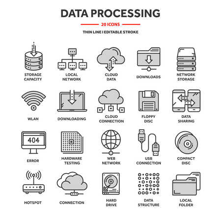 Cloud computing. Internet technology. Online services. Data processing, information security. Connection. Thin line web icon set. Outline icons collection.Vector illustration. Vektorové ilustrace
