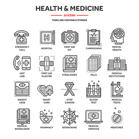 Health care, medicine. First aid. Medical blood tests and diagnostic. Heart cardiogram. Pills and drugs.Thin line web icon set. Outline icons collection. Banque d'images - 119912859