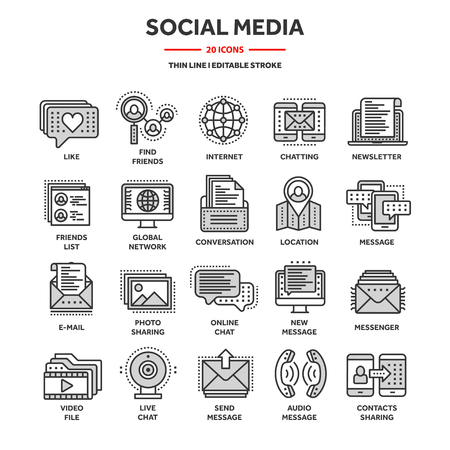 Communication,social media and online chatting. Phone call,app messenger. Mobile,smartphone. Computing, email. Thin line web icon set,outline icons collection.