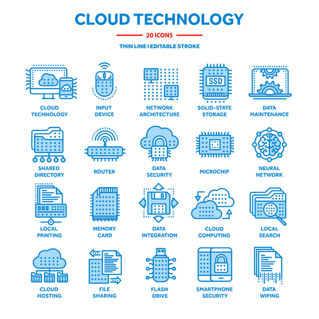Cloud computing. Internet technology. Online services. Data, information security. Connection. Thin line blue web icon set. Outline icons collection.Vector illustration