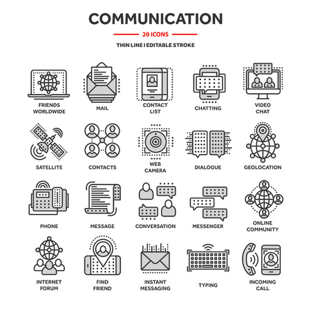Communication,social media and online chatting. Phone call,app messenger. Mobile,smartphone. Computing, email. Thin line web icon set,outline icons collection. Ilustração Vetorial