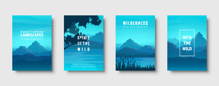 Mountains and forest. Wild nature landscape. Travel and adventure.Panorama. Into the woods. Horizon line.Trees,fog. Vector illustration Standard-Bild - 119913119