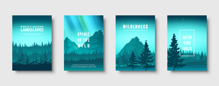 Mountains and forest. Wild nature landscape. Travel and adventure.Panorama. Into the woods. Horizon line.Trees,fog. Vector illustration Standard-Bild - 119913128