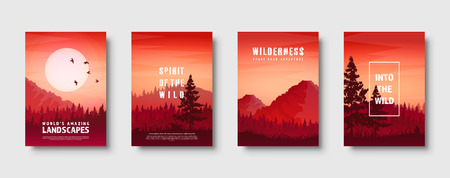 Mountains and forest. Wild nature landscape. Travel and adventure.Panorama. Into the woods. Horizon line.Trees,fog. Vector illustration Standard-Bild - 119913135