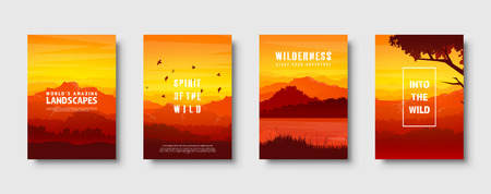Mountains and forest. Wild nature landscape. Travel and adventure.Panorama. Into the woods. Horizon line.Trees,fog. Vector illustration Standard-Bild - 119913140