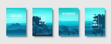 Mountains and forest. Wild nature landscape. Travel and adventure.Panorama. Into the woods. Horizon line.Trees,fog. Vector illustration Standard-Bild - 119913157